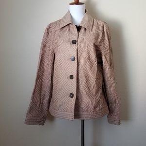 R.Q.T. RQT Jacket Top Size 12 Brown Tan